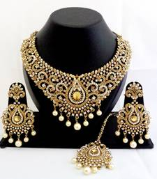 Buy Designer golden white stone wedding necklace set with maang tikka pakistani-jewellery online