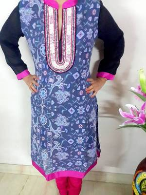 ROYAL PEARL WORK KURTA CHURIDAAR