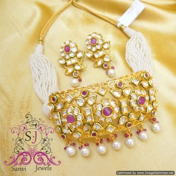 Ruby Kundan Meena Choker Necklace