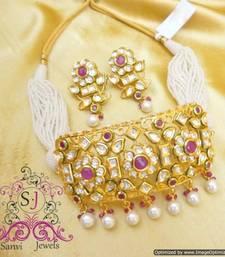 Ruby Kundan Meena Choker Necklace