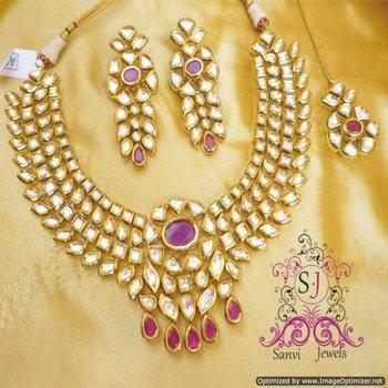 Beautiful Ruby Kundan Meenakari Necklace Set