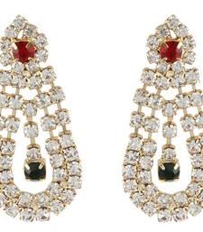 Buy New Hot Colletion Chandbali Cubic Zirconia Gold Tone Earring danglers-drop online