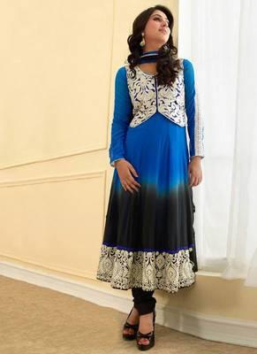 Blue & Black Colour Georgette Semi Stiched Anarkali Salwar Kameez By fabfiza