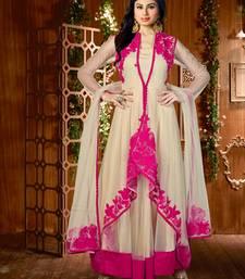 Buy Beige and pink net embroidered unstitched salwar with dupatta eid-special-salwar-kameez online