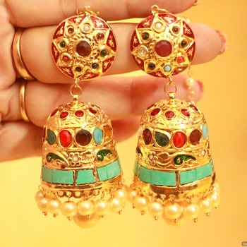 Gold Look Navratan Polki Jhumka's