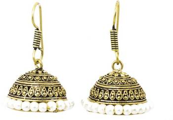OxidisednTextured Mehndi Golden Shade Jhumka Earrings