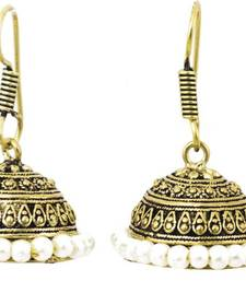 Buy OxidisednTextured Mehndi Golden Shade Jhumka Earrings jhumka online