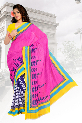designer faux georgette saree with blowse