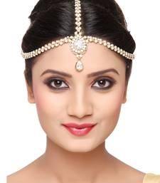 Trendy Design Matha Patti For Wedding Gold Finishing With Pearl And Stone In White