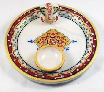 Marble Puja Thali for Diwali