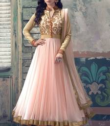 Buy Light pink net embroidered semi stitiched salwar with dupatta party-wear-salwar-kameez online