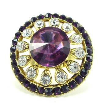 Bridal purple kundan cz gold tone adjustable finger ring fr14