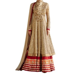 Cream embroidered net and georgtte unstitched salwar with dupatta