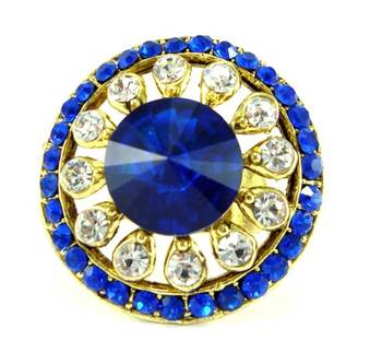 Bridal royal blue kundan cz gold plated adjustable finer ring fr15