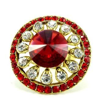 Red kundan bridal adjustable finger ring fr16