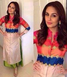 Buy Multicolor embroidered bhagalpuri silk semi stitched kurti long-kurti online