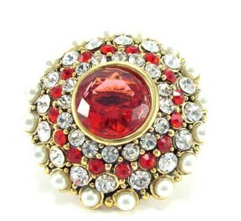 Pearl red kundan cz gold plated adjustable finger ring fr 17