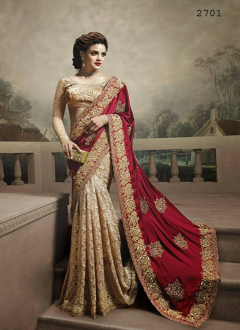 225fab9105e812 Beige embroidered net saree with blouse - Fashion Fiza - 1489238