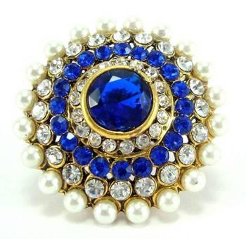 Bollywood bridal blue kundan cz pearl adjustable finger ring fr19