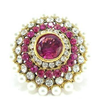 Bollywood bridal pink kundan cz bridal adjustable finger ring fr20