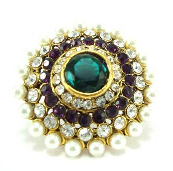 Bollywood purple green kundan cz pearl adjustable finger ring fr21