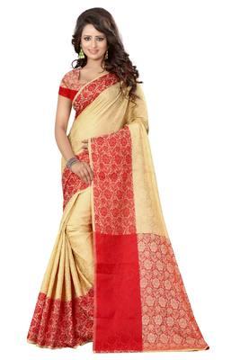 bede3e7ff63368 Red printed cotton silk saree with blouse - Greenvilla designs - 1489417