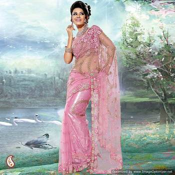 Lavender Pink Embroidery Net Sari