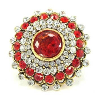 Red kundan cz bridal adjustable finger ring fr24