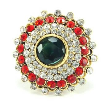 Red green kundan cz bridal adjustable finger ring fr25
