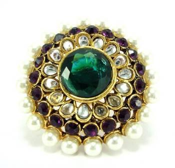 purple green kundan pearl gold tone adjustable finger ring fr28