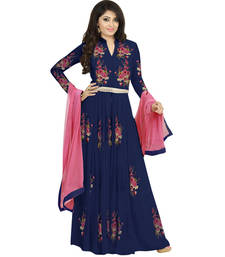 Buy Blue georgette embroidery and lace work semi stitiched salwar with dupatta salwar-kameez-below-2000 online
