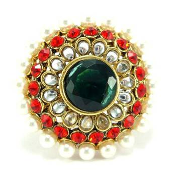 Red green kundan pearl adjustable finger ring fr29