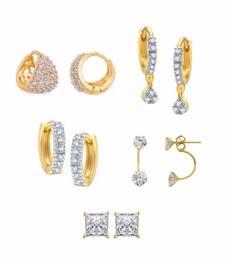 Buy White Pack of Gold Plated Earrings combo-earring online