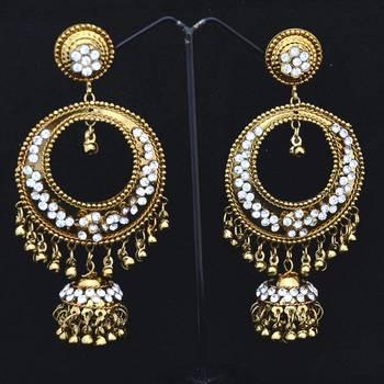Co-operish Gold Ring Shaped Jhumkas