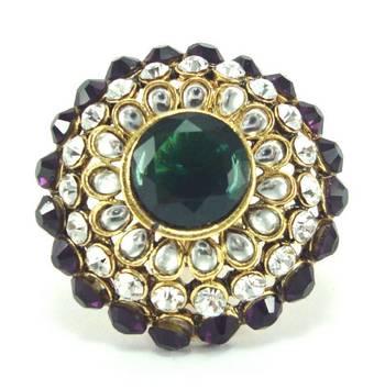 purple green kundan adjustable finger ring fr33