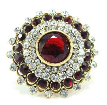 maroon kundan bridal adjustable finger ring fr26