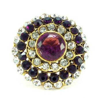purple kundan cz gold plated adjustable finger ring fr37