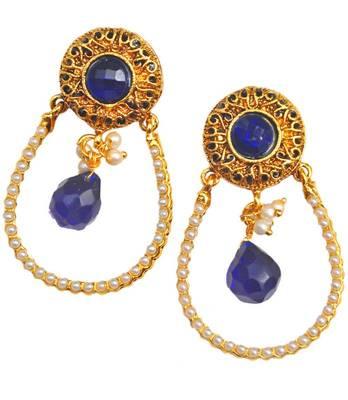 Maayra Blue Bollywood Ethnic Wedding Festival Drop Earrings