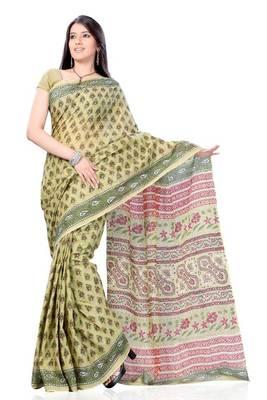 Pistachio Green Block Print Cotton Sari
