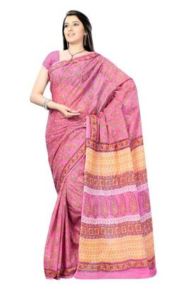 Amaranth Pink Hand Block Print Cotton Sari