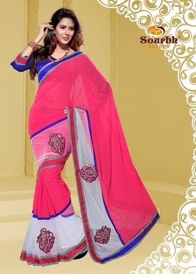 Designer Pink and Off White Faux Georgette Party Wear Saree