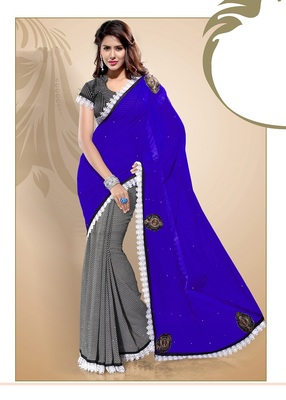 Classic Blue Faux Chiffon Party Wear Saree