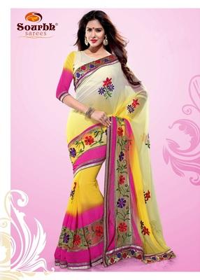 Stylish Shaded Yellow Pink and Off White Faux Chiffon Party Wear Saree