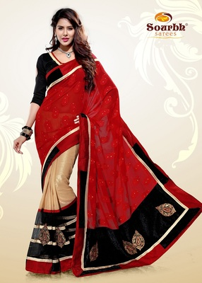 Dazzling Red Chiffon Jacquard and Beige Shimmer Georgette Party Wear Saree