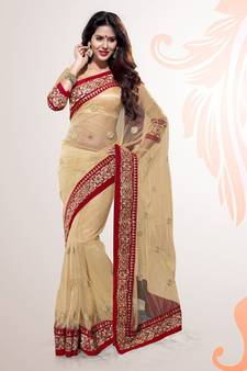 be93981ed05904 Beige Embroidered Net Party Wear Saree With Blouse