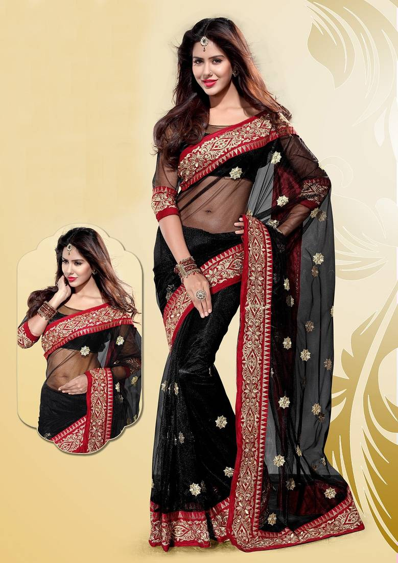 Buy Stylish Black Net Party Wear Saree Online