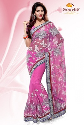 Pink Embroidered Net Party Wear Saree With Blouse