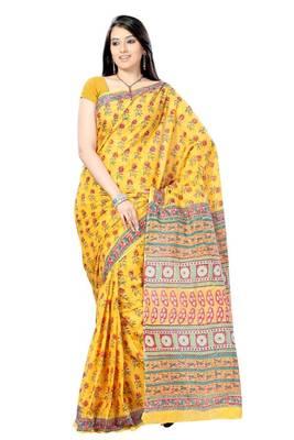 Amber Yellow Hand Block Floral Print Sari