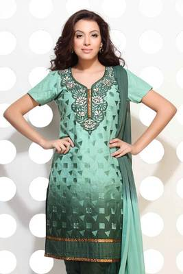 Double shaded green embroidered suit