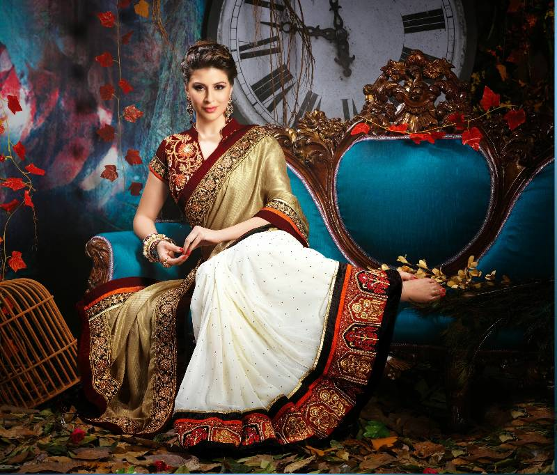 Dark Beige And Off White Viscose Bemberg Saree Rajshri Fashions